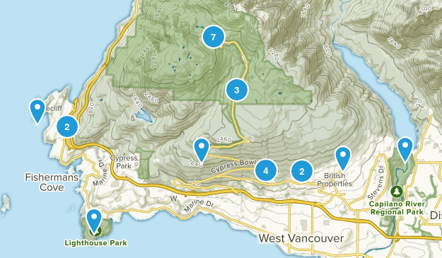 West Vancouver, British Columbia Nature Trips Map