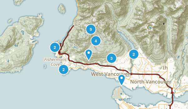 West Vancouver, British Columbia Trail Running Map