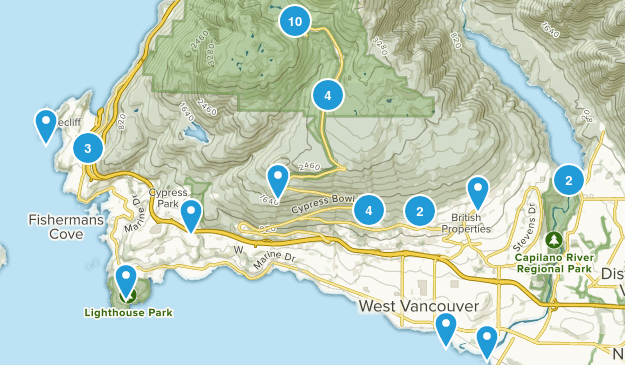 West Vancouver, British Columbia Views Map
