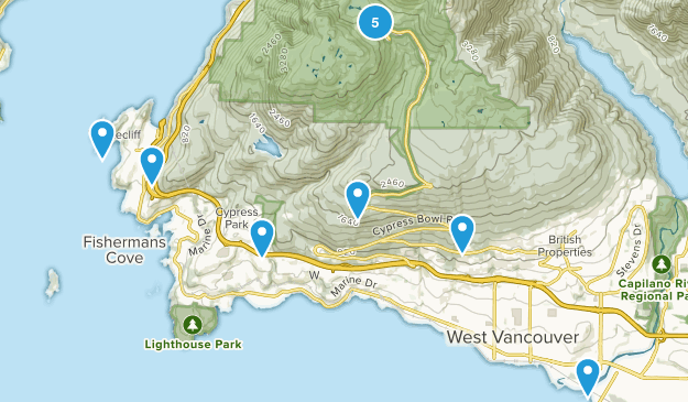 West Vancouver, British Columbia Wild Flowers Map