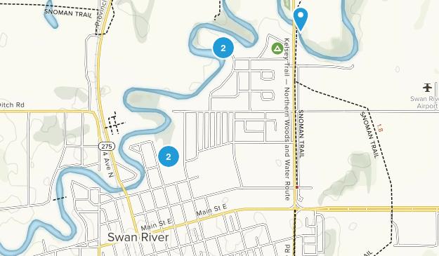 Swan River, Manitoba Hiking Map