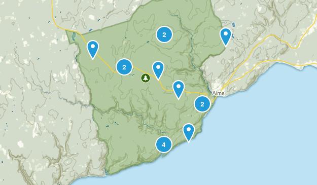 Alma Parish, New Brunswick Dogs On Leash Map