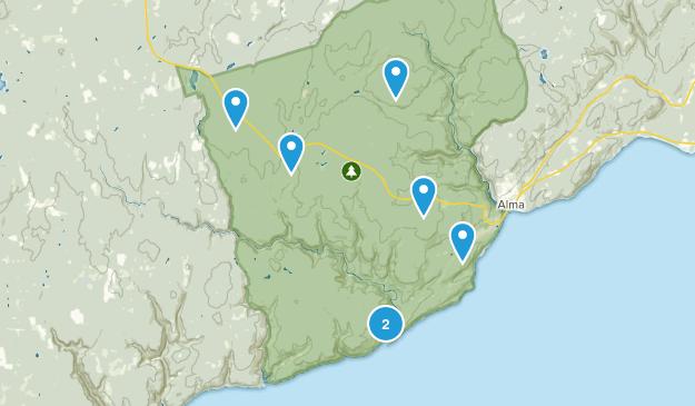Alma Parish, New Brunswick Trail Running Map