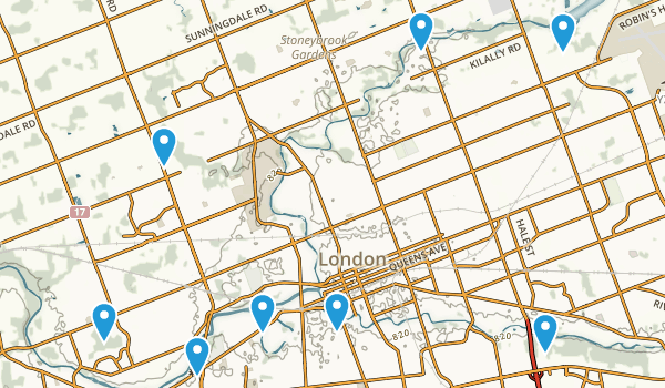 London, Ontario Dogs On Leash Map
