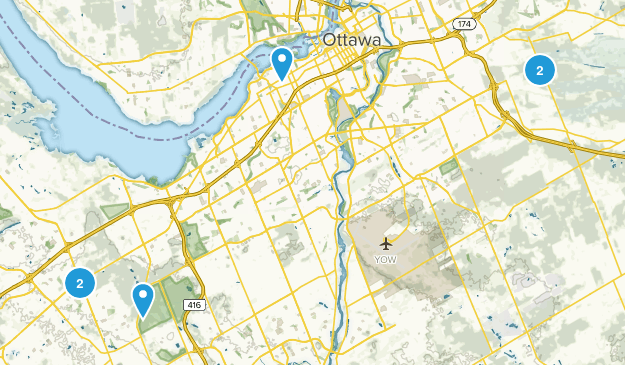 Ottawa, Ontario Cross Country Skiing Map