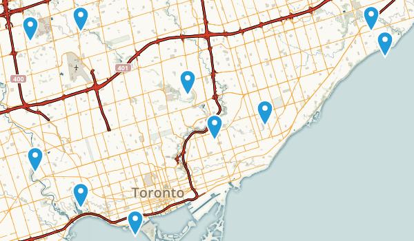 Toronto, Ontario Snowshoeing Map