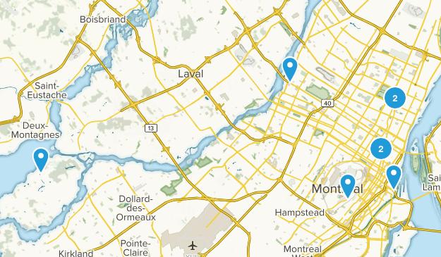 Montréal, Quebec Dogs On Leash Map