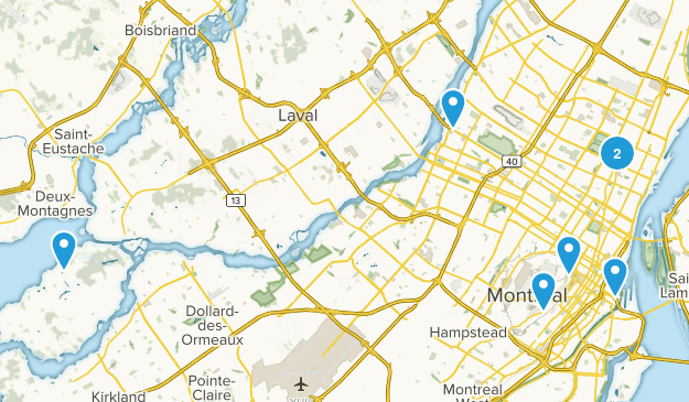 Montréal, Quebec Hiking Map