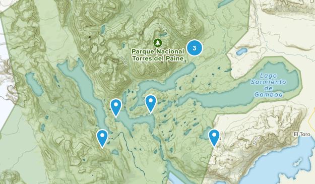 Tres Torres, De Magallanes y Antartica Chilena Lake Map