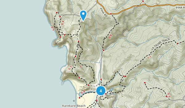 Karekare, Auckland Region Hiking Map
