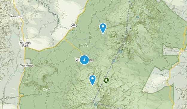 Whakapapa Village, Manawatu-Wanganui Region Hiking Map