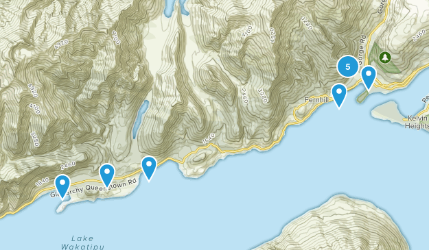 Queenstown, Otago Region Hiking Map