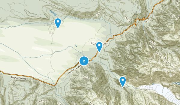 Fox Glacier, West Coast Region Hiking Map