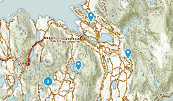 Bergen, Hordaland Walking Map