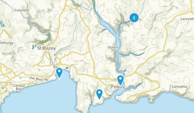 Fowey, England Walking Map