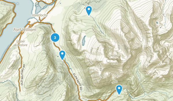 Glen Nevis, Scotland Hiking Map