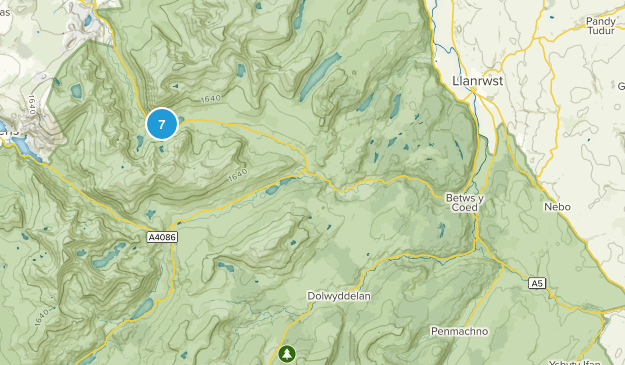Betws-Y-Coed, Wales Hiking Map