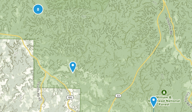 Double Springs, Alabama Hiking Map