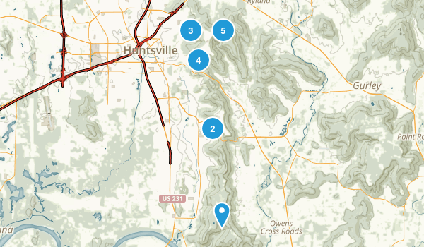 Huntsville, Alabama Trail Running Map