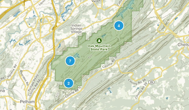 Pelham, Alabama Mountain Biking Map