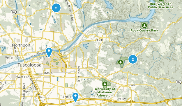 Tuscaloosa, Alabama Hiking Map