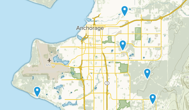 Anchorage, Alaska Cross Country Skiing Map