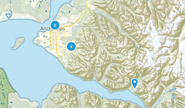 Anchorage, Alaska Snowshoeing Map