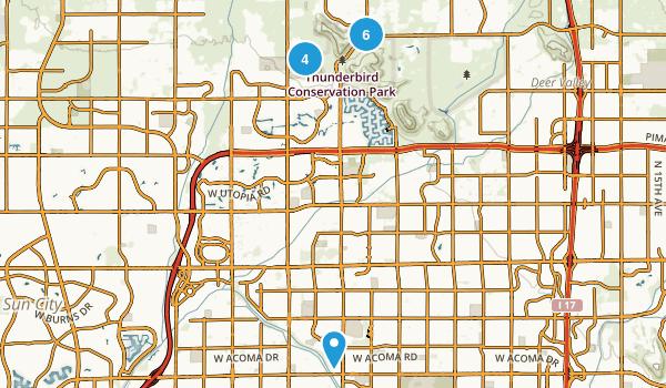 Glendale, Arizona Hiking Map