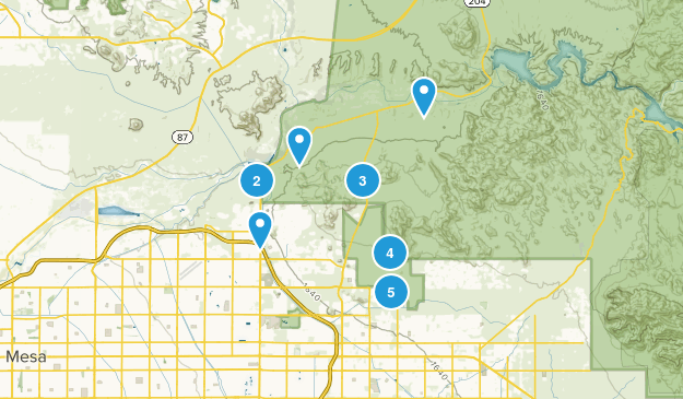 Mesa, Arizona Mountain Biking Map