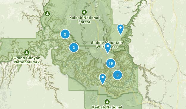 North Rim, Arizona Hiking Map