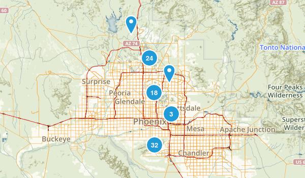 Phoenix, Arizona Mountain Biking Map