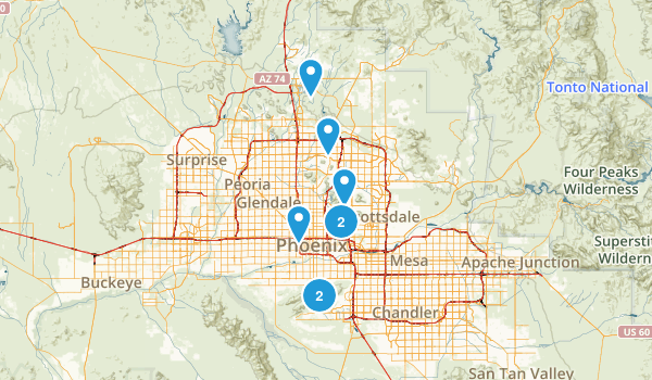 Phoenix, Arizona Road Biking Map