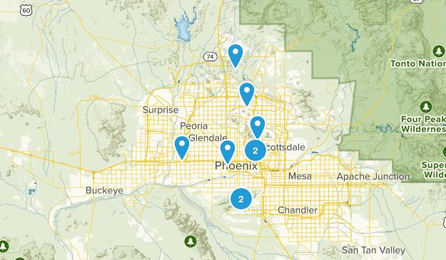 Phoenix, Arizona Road Biking Map