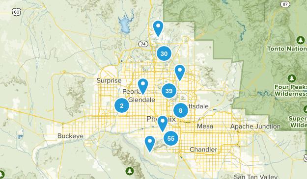 Phoenix, Arizona Trail Running Map