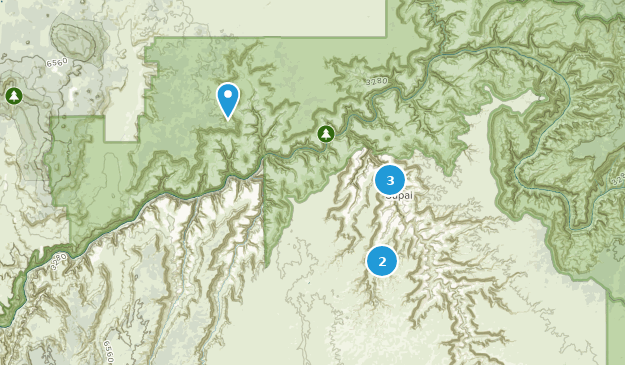 Supai Arizona Map.Map Of Hiking Trails Near Supai Arizona Alltrails