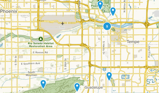 Tempe, Arizona Dogs On Leash Map
