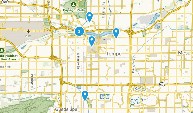 Tempe, Arizona Road Biking Map