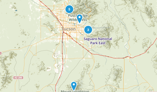 Tucson, Arizona Backpacking Map