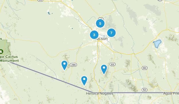 Tucson, Arizona Dogs On Leash Map
