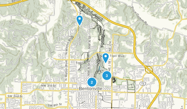 Bentonville, Arkansas Hiking Map