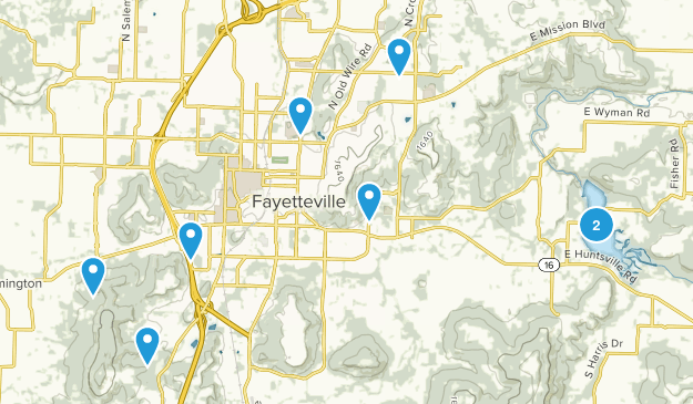 Fayetteville, Arkansas Nature Trips Map