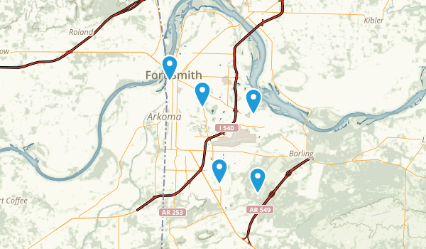 Fort Smith, Arkansas Dogs On Leash Map