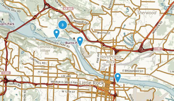 North Little Rock, Arkansas Dogs On Leash Map