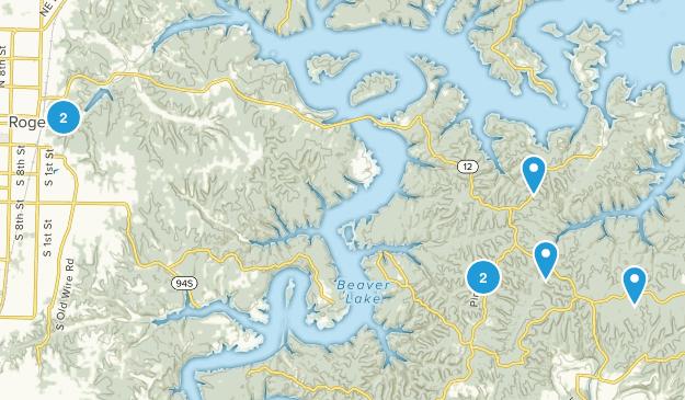 Rogers, Arkansas Lake Map