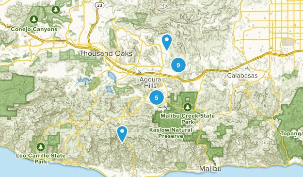Agoura Hills, California Dogs On Leash Map