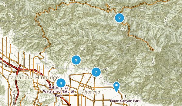 Altadena, California Hiking Map