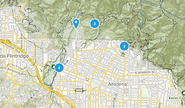 Altadena, California Mountain Biking Map