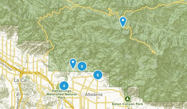 Altadena, California Trail Running Map
