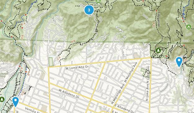 Altadena, California Waterfall Map