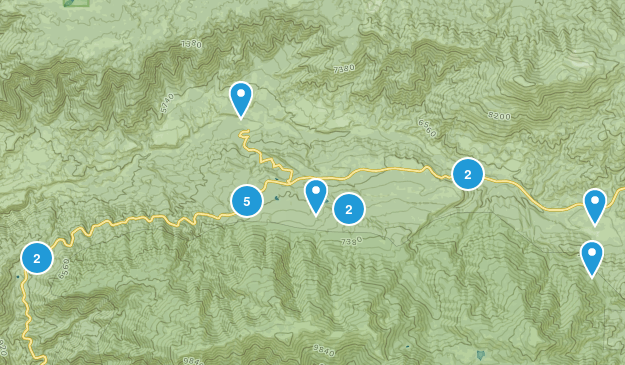 Angelus Oaks, California Hiking Map